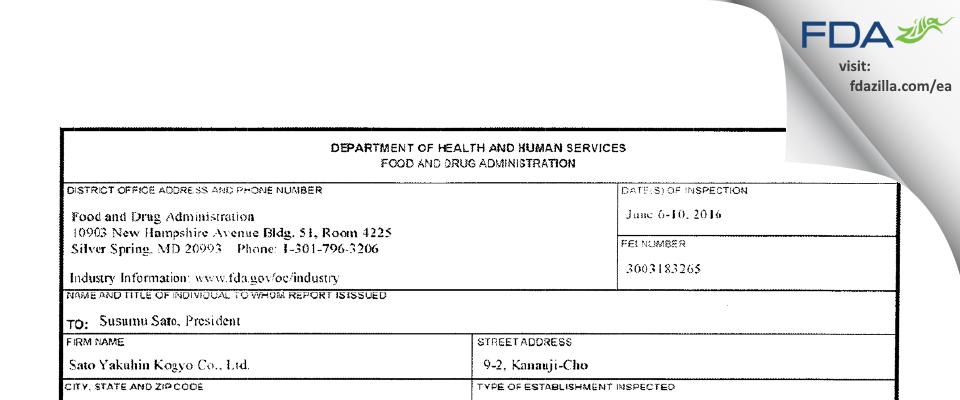 Sato Yakuhin Kogyo FDA inspection 483 Jun 2016