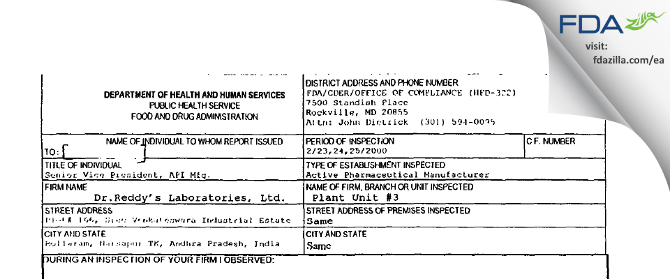 Dr. Reddy's Labs (Chemical Tech Ops - III) FDA inspection 483 Feb 2000