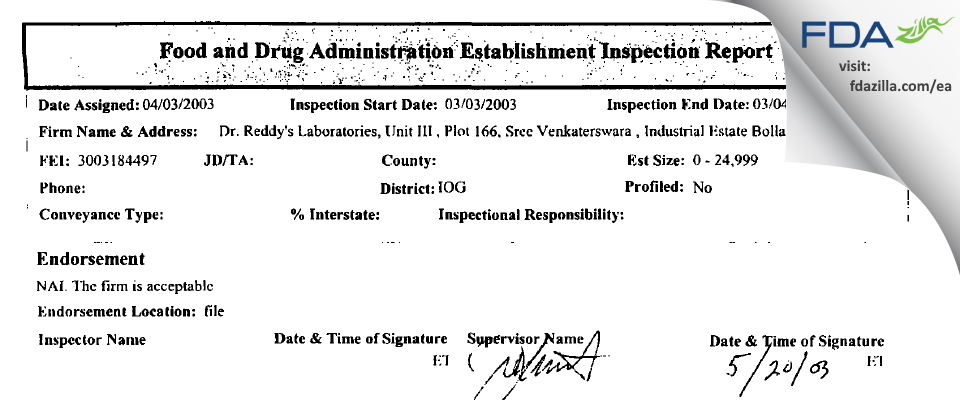 Dr. Reddy's Labs (Chemical Tech Ops - III) FDA inspection 483 Mar 2003