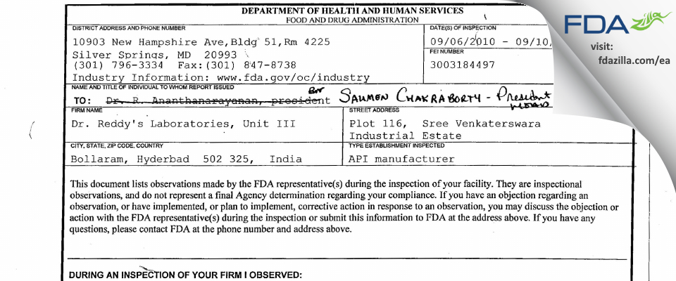 Dr. Reddy's Labs (Chemical Tech Ops - III) FDA inspection 483 Sep 2010