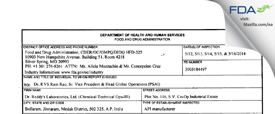 Dr. Reddy's Labs (Chemical Tech Ops - III) FDA inspection 483 May 2014