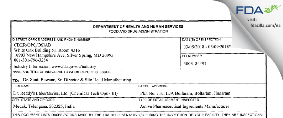 Dr. Reddy's Labs (Chemical Tech Ops - III) FDA inspection 483 Mar 2018