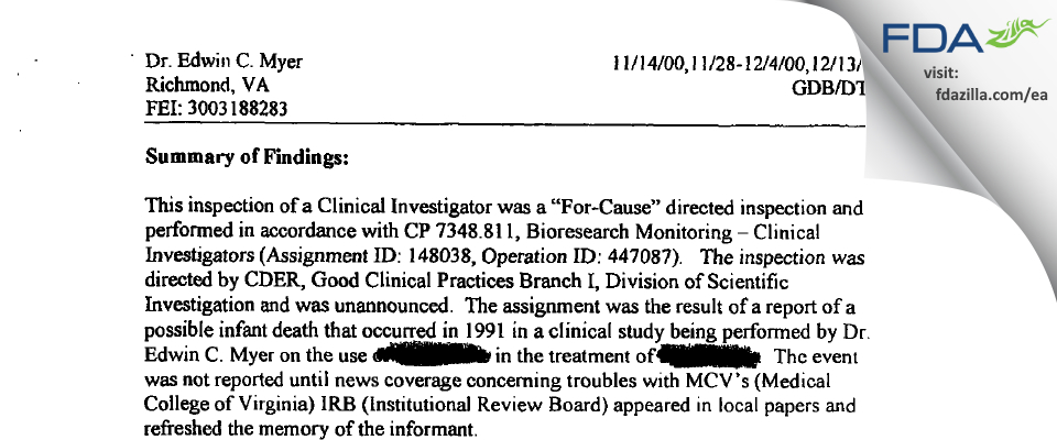 Myer, Edwin C MD FDA inspection 483 Dec 2000