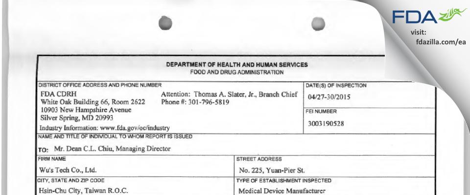 Wu's Tech FDA inspection 483 Apr 2015