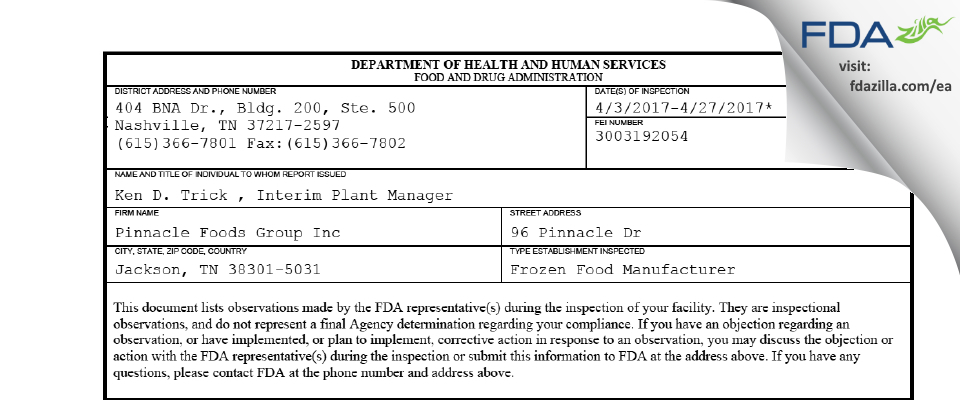 Pinnacle Foods Group FDA inspection 483 Apr 2017