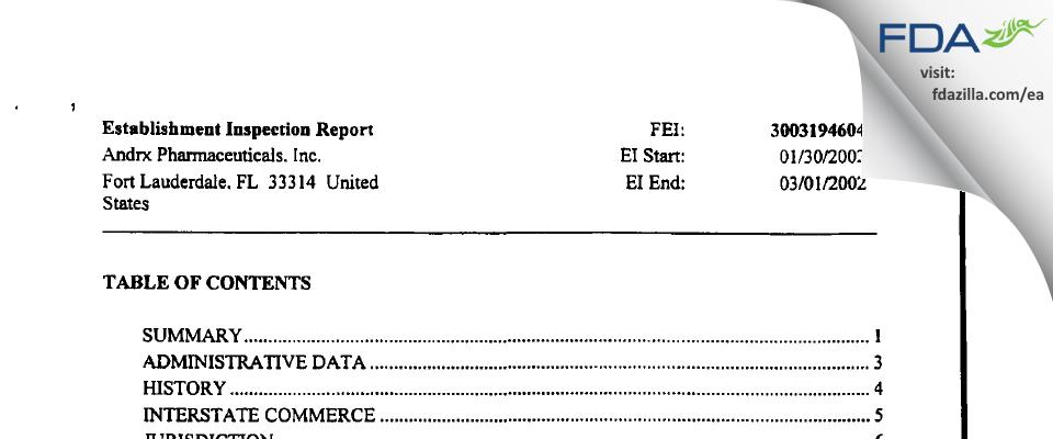 Actavis Labs FL FDA inspection 483 Mar 2002