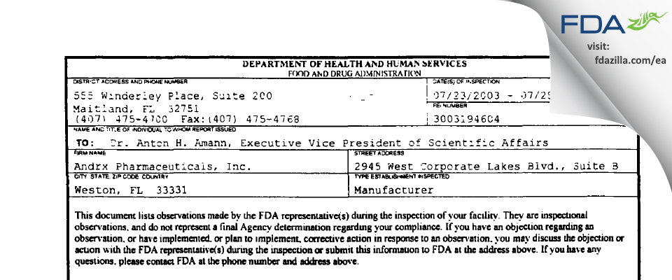 Actavis Labs FL FDA inspection 483 Jul 2003