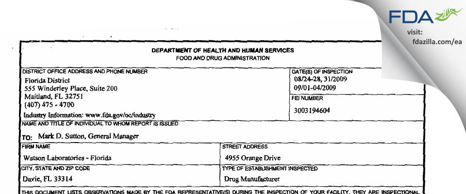 Actavis Labs FL FDA inspection 483 Sep 2009