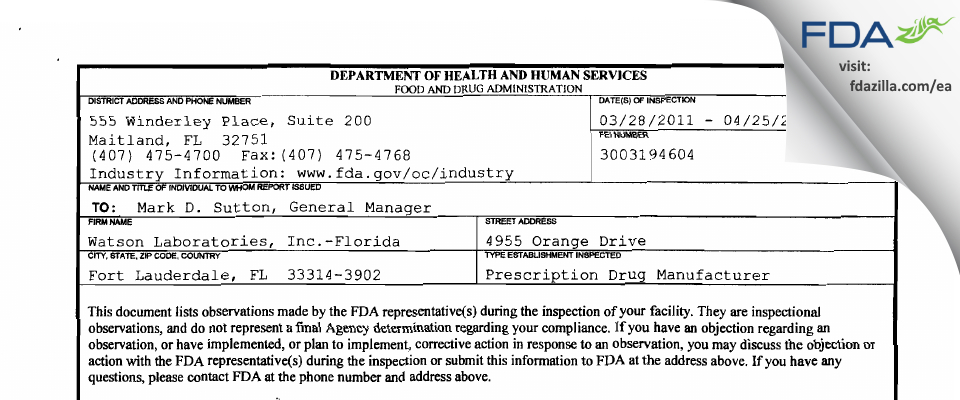 Actavis Labs FL FDA inspection 483 Apr 2011
