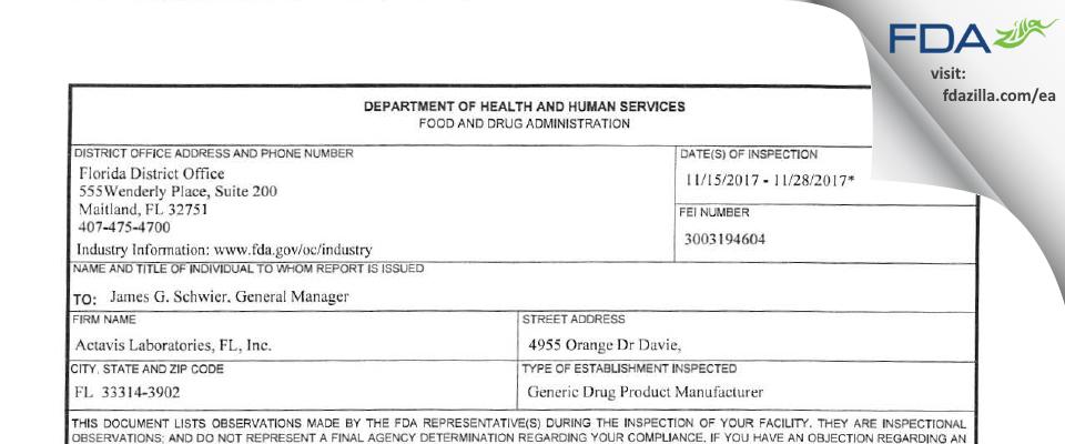 Actavis Labs FL FDA inspection 483 Nov 2017