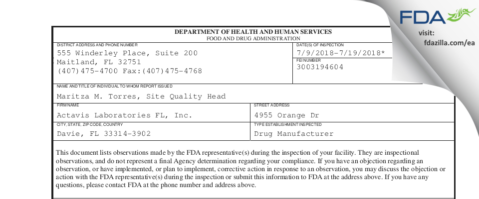 Actavis Labs FL FDA inspection 483 Jul 2018
