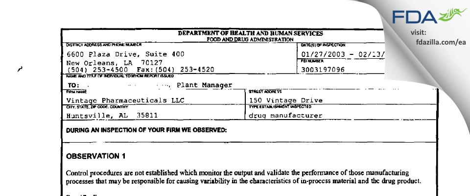 Vintage Pharmaceuticals, DBA Qualitest Pharmaceuticals FDA inspection 483 Feb 2003