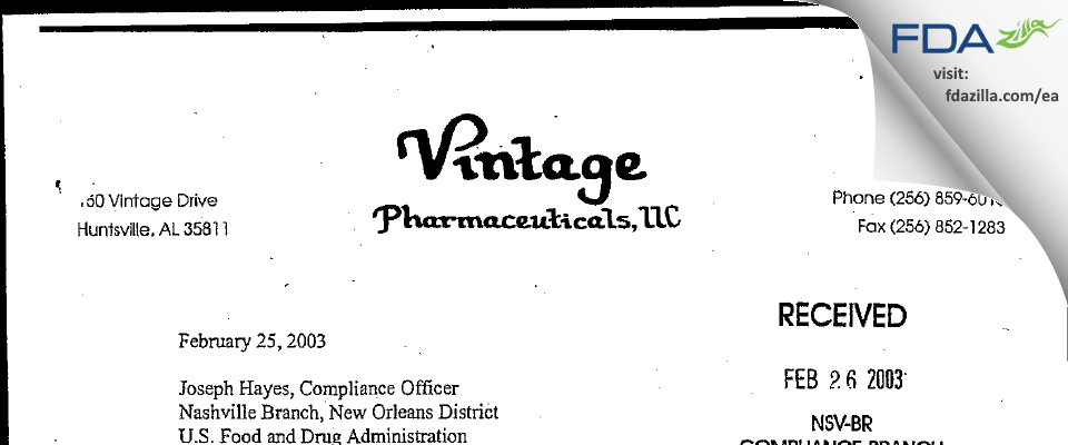 Vintage Pharmaceuticals, DBA Qualitest Pharmaceuticals FDA inspection 483 Feb 2003