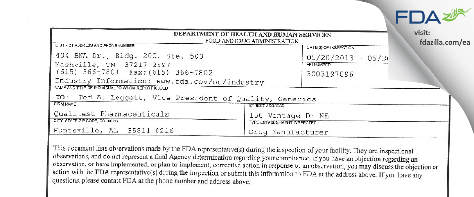 Vintage Pharmaceuticals, DBA Qualitest Pharmaceuticals FDA inspection 483 May 2013