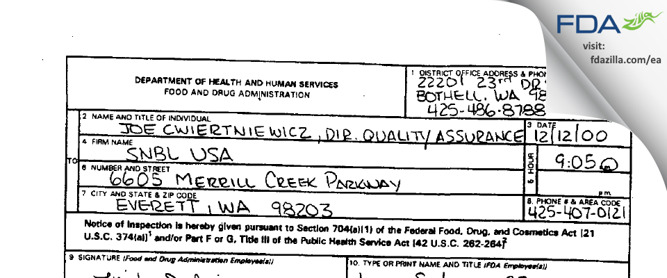 Altasciences Preclinical Seattle FDA inspection 483 Dec 2000