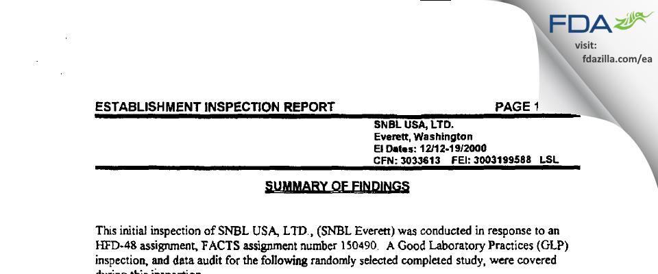 Altasciences Preclinical Seattle FDA inspection 483 Dec 2000
