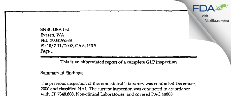 Altasciences Preclinical Seattle FDA inspection 483 Oct 2002