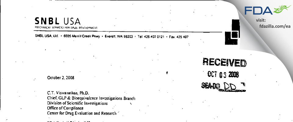 Altasciences Preclinical Seattle FDA inspection 483 Aug 2008