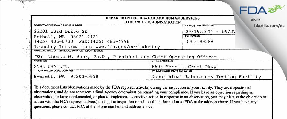 Altasciences Preclinical Seattle FDA inspection 483 Sep 2011