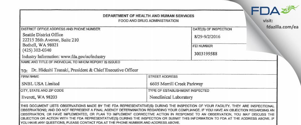 SNBL USA FDA inspection 483 Sep 2016
