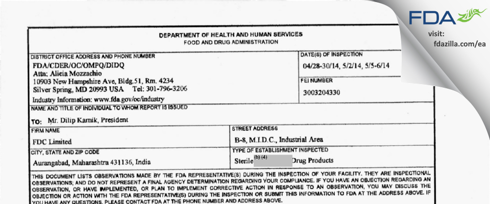FDC FDA inspection 483 May 2014