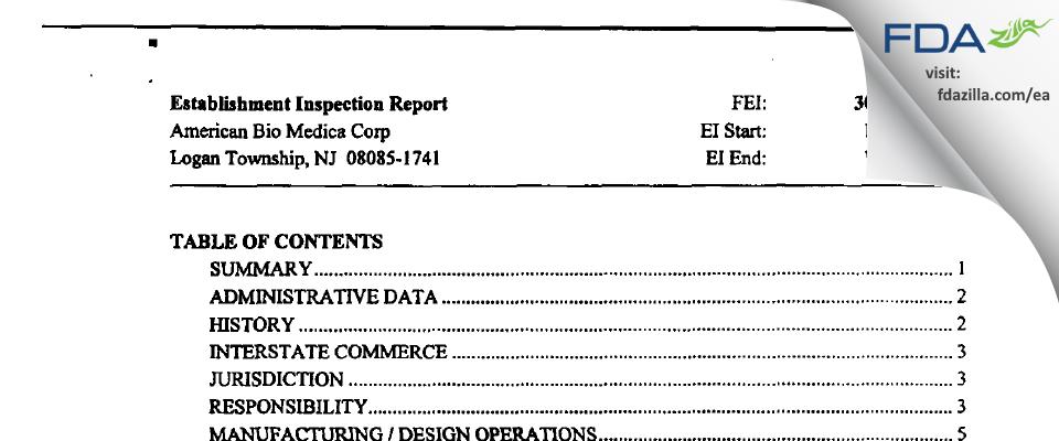 American Bio Medica FDA inspection 483 Oct 2003