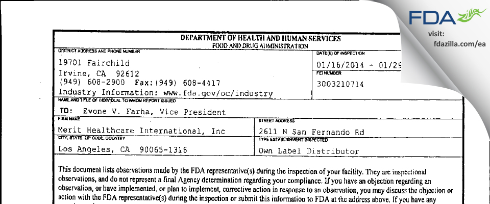 Merit Healthcare International FDA inspection 483 Jan 2014