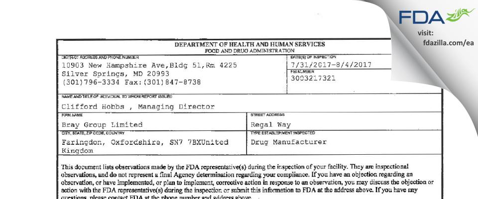 Bray Group FDA inspection 483 Aug 2017