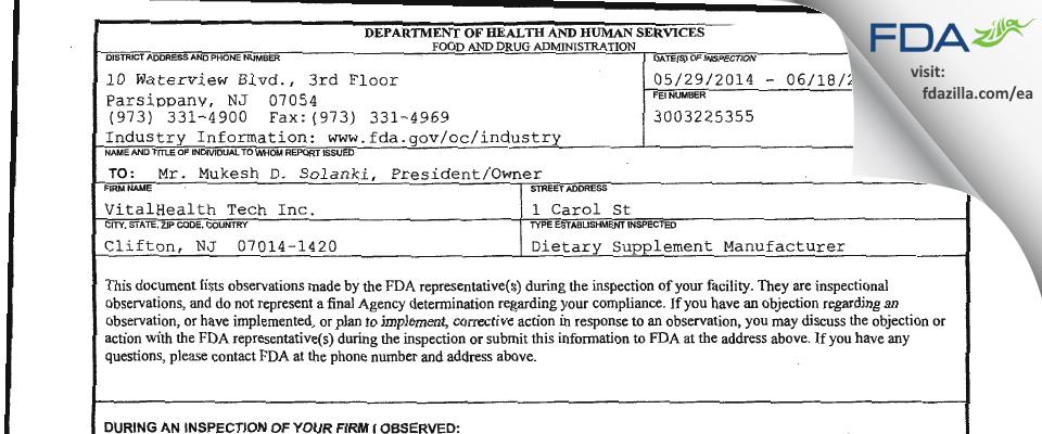 VitalHealth Tech FDA inspection 483 Jun 2014