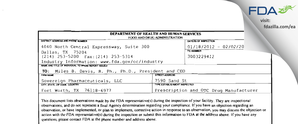 Sovereign Pharmaceuticals FDA inspection 483 Feb 2012