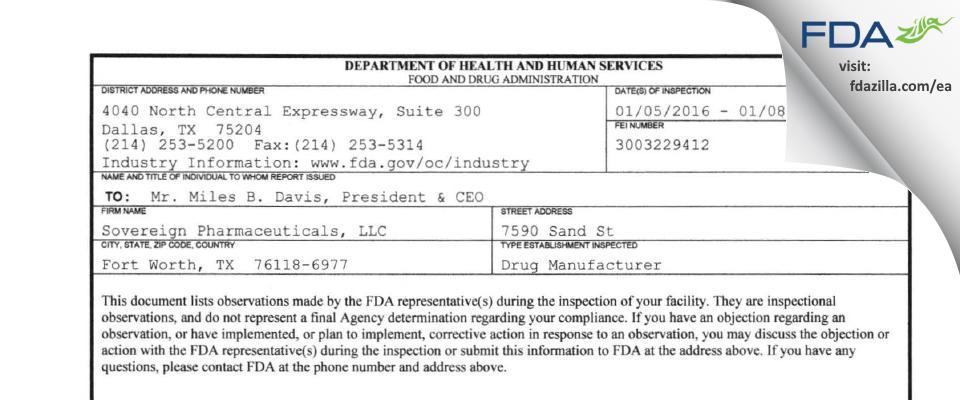 Sovereign Pharmaceuticals FDA inspection 483 Jan 2016