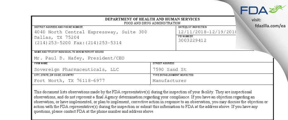 Sovereign Pharmaceuticals FDA inspection 483 Dec 2018