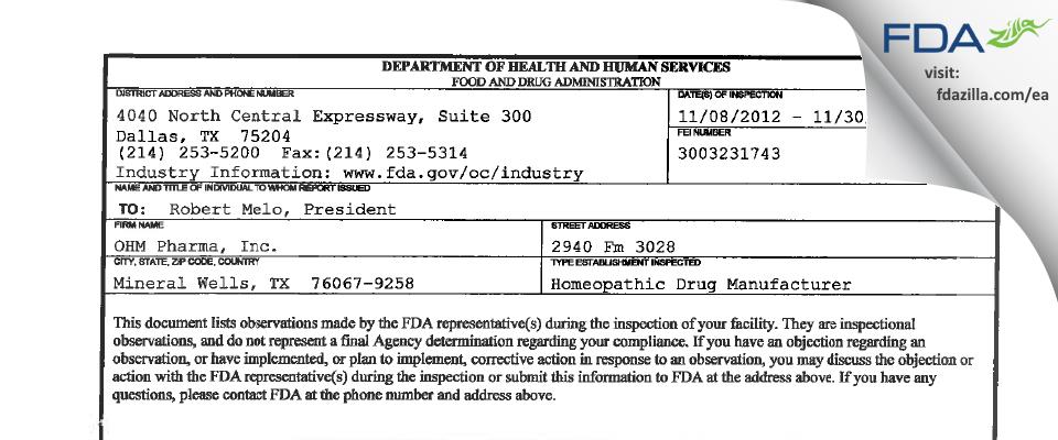 OHM Pharma FDA inspection 483 Nov 2012