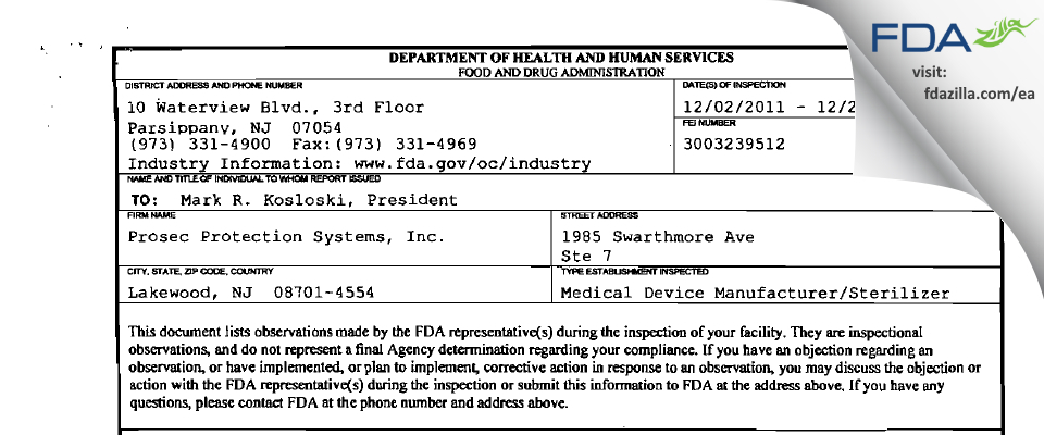 Prosec Protection Systems FDA inspection 483 Dec 2011