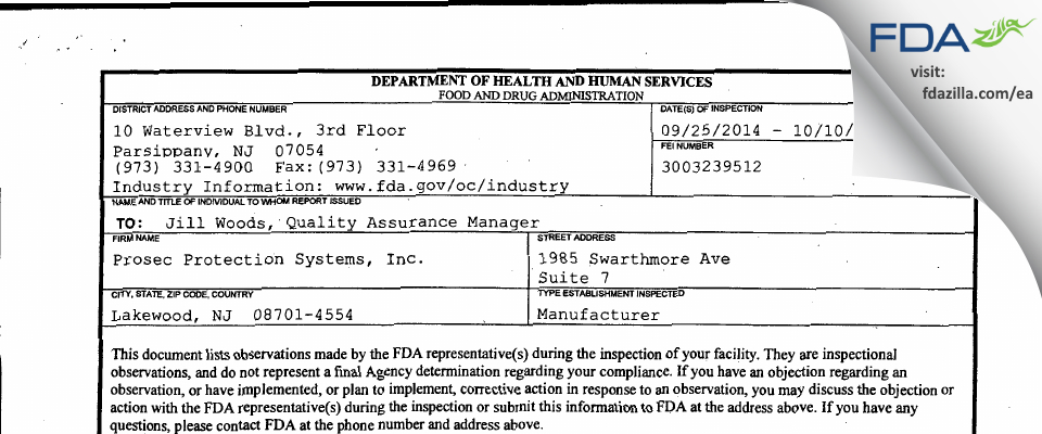 Prosec Protection Systems FDA inspection 483 Oct 2014