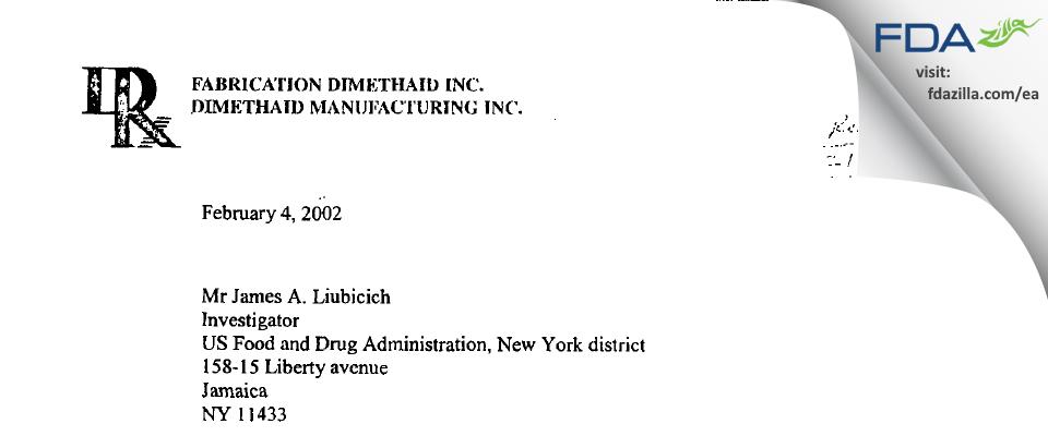 Nuvo Pharmaceuticals FDA inspection 483 Dec 2001