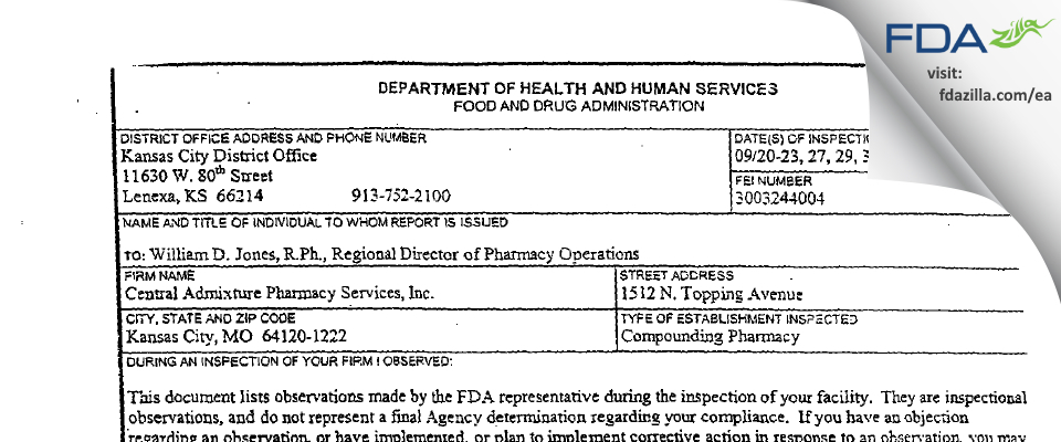 Central Admixture Pharmacy Services FDA inspection 483 Sep 2005