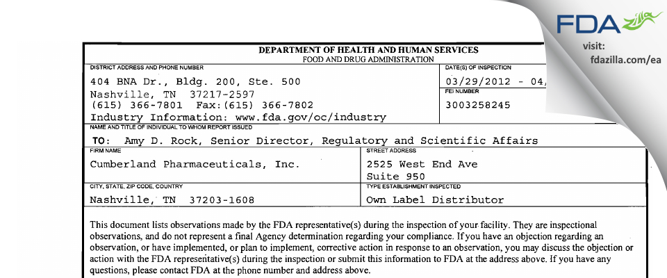 Cumberland Pharmaceuticals FDA inspection 483 Apr 2012