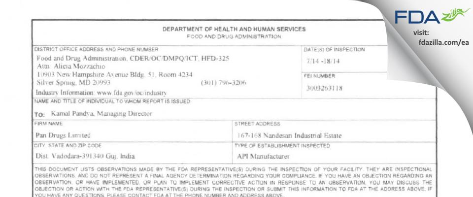 Pan Drugs FDA inspection 483 Jul 2014