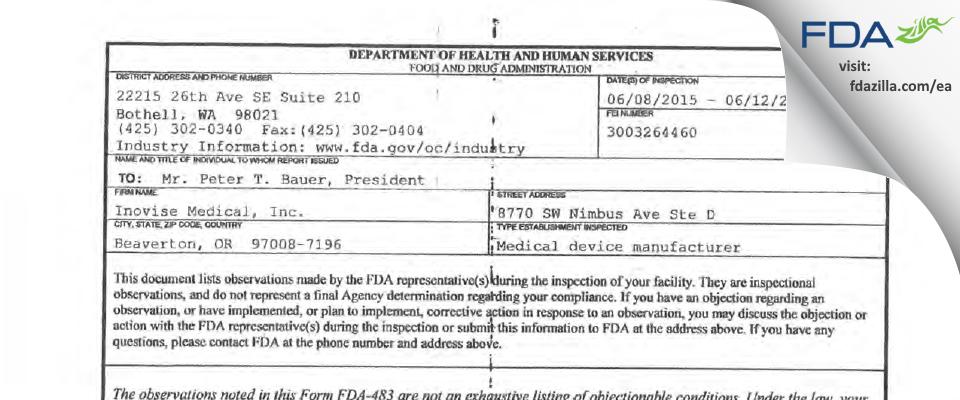 Inovise Medical FDA inspection 483 Jun 2015