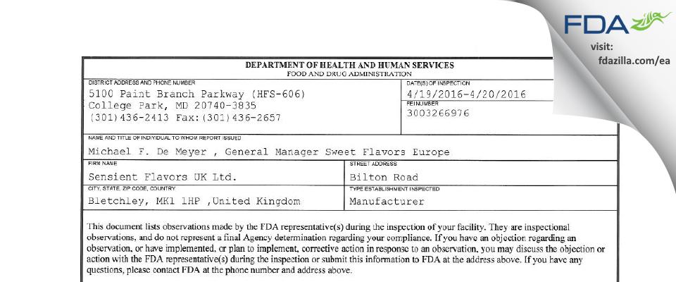 Sensient Flavors UK FDA inspection 483 Apr 2016
