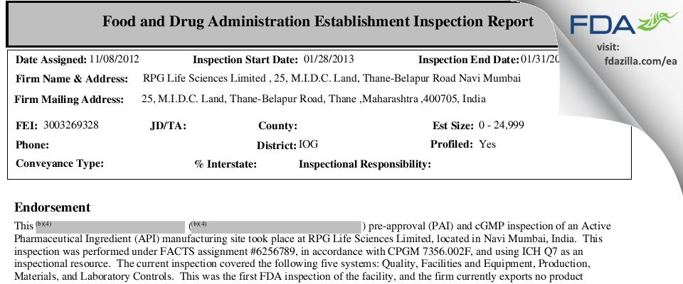 RPG Life Sciences FDA inspection 483 Jan 2013