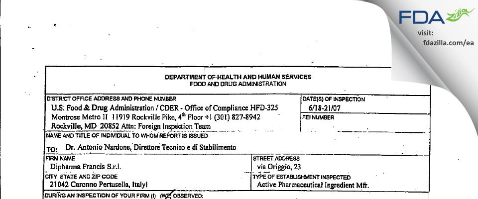 Dipharma Francis S.r.l. FDA inspection 483 Jun 2007
