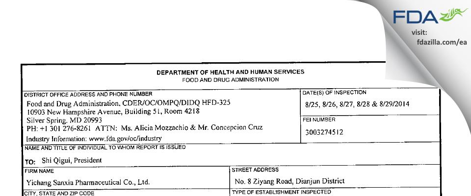 Yichang Sanxia Pharmaceutical FDA inspection 483 Aug 2014