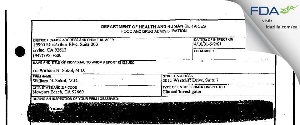 Sokol, William N., M.D. FDA inspection 483 May 2001