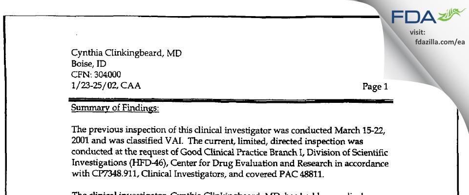 Cynthia Clinkingbeard, MD FDA inspection 483 Jan 2002
