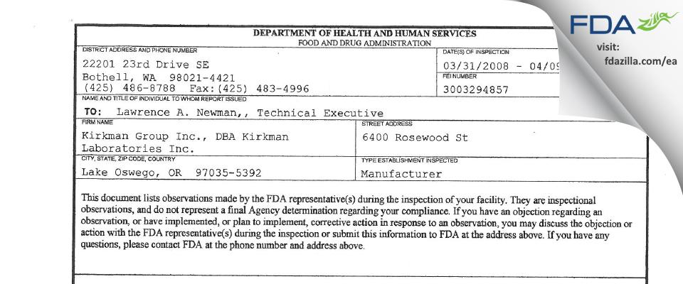 Kirkman Labs FDA inspection 483 Apr 2008