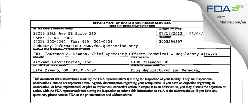 Kirkman Labs FDA inspection 483 Aug 2013