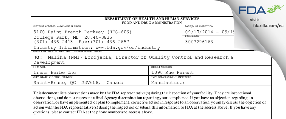 Trans-Herbe FDA inspection 483 Sep 2014