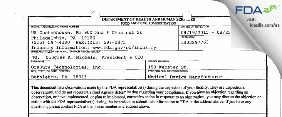 OraSure Technologies FDA inspection 483 Aug 2015